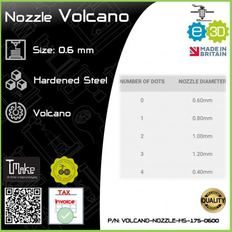 E3D Nozzle Volcano Hardened Steel 1.75mm x 0.6mm