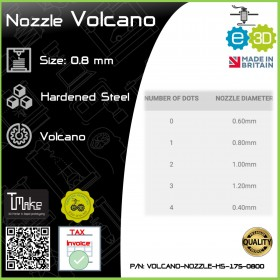 E3D Nozzle Volcano Hardened Steel 1.75mm x 0.8mm