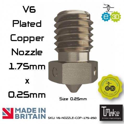 E3D Plated Copper Nozzles 0.25 mm. for 1.75 mm. Filament