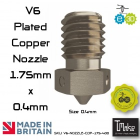 E3D Plated Copper Nozzles 0.40 mm. for 1.75 mm. Filament
