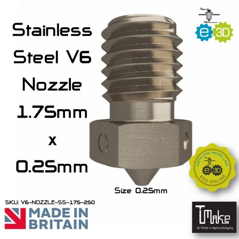 E3D Stainless Steel V6 Nozzle - 1.75mm x 0.25mm