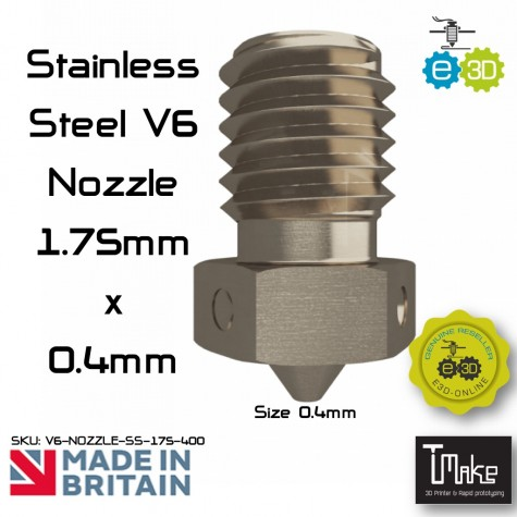 E3D Stainless Steel V6 Nozzle - 1.75mm x 0.40mm