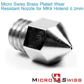 MK8 Plated Wear Resistant Nozzle - 0.2mm