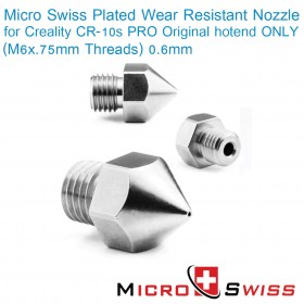 Plated Wear Resistant Nozzle for Creality CR-10s PRO Original hotend ONLY (M6x.75mm Threads) 0.6mm