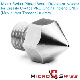 Plated Wear Resistant Nozzle for Creality CR-10s PRO Original hotend ONLY (M6x.75mm Threads) 0.8mm