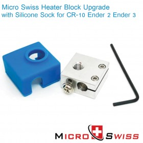 Heater Block Upgrade with Silicone Sock for CR-10 / Ender 2 / Ender 3 / ANET A8 Printer MK7, MK8, MK9 Hotends